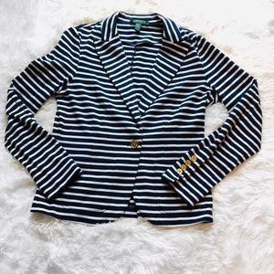 Lauren Ralph Lauren Blue/White Stripe Blazer